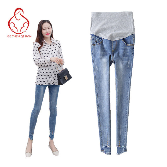 5588aadce22e7 New jeans pregnant women high waist care abdomen pants pregnant women pants  pregnant women leggings maternity