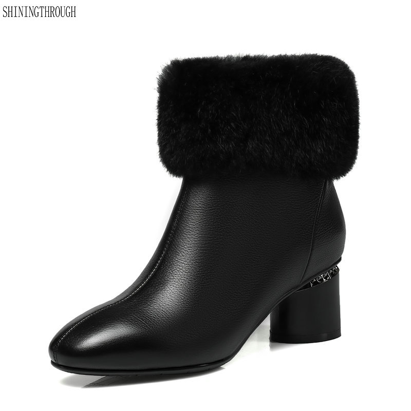 New cow leather women snow boots high rouned heels shoes woman black white fur party women ankle boots large size 42 43 цена