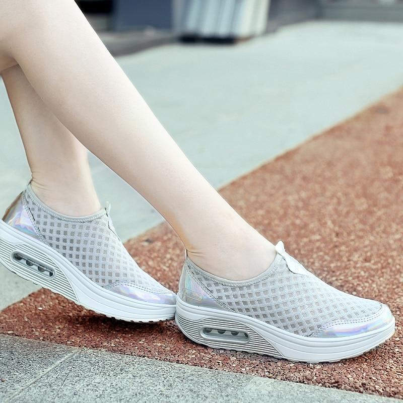 2017 Summer Women Platform Sports Shoes Women Wedge Sneakers Network Mesh Women Running Shoes Sneakers