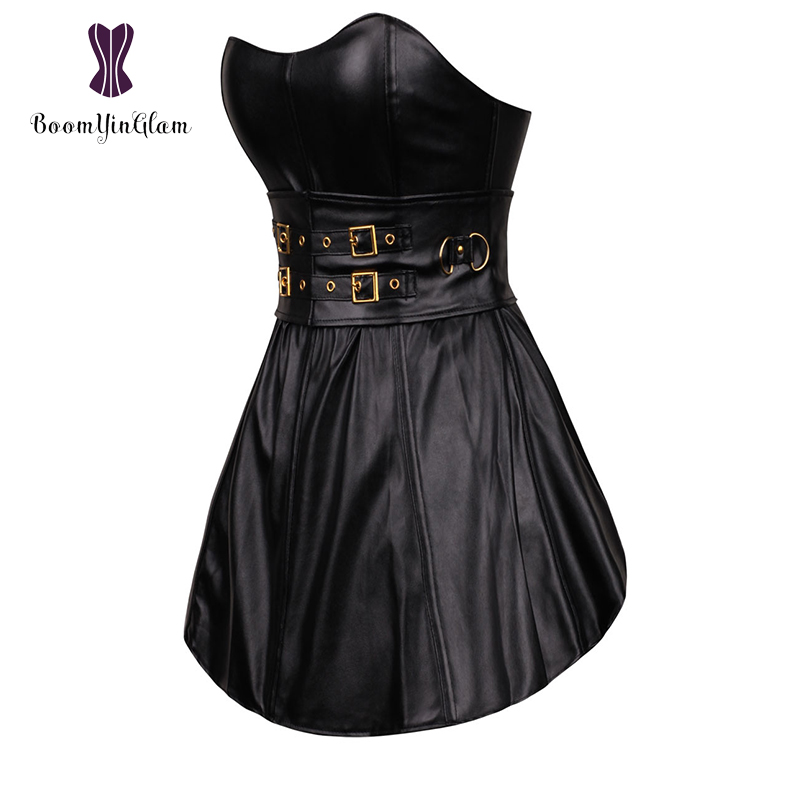 Black Gothic Punk Women's Long Torso Boned   Corset     Bustier   Leather Clubwear Dress Zip Back 9003#