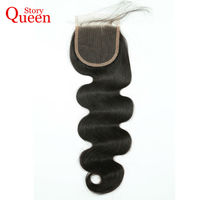Queen Story Hair Body Wave Lace Closure Brazilian Remy Hair Body Wave 4x4 Human Hair Closure