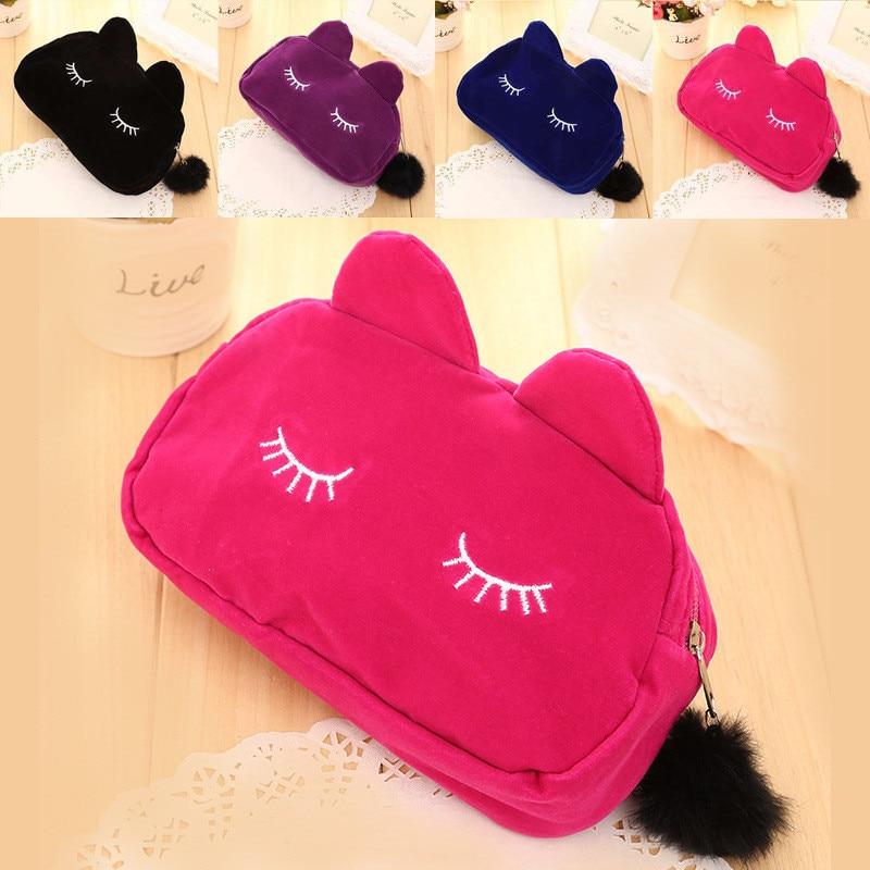 High Capacity Kawaii Cat Pencil Bag Cute Fabric Pencil Case Pen Box For Kids School Supplies Student 1171