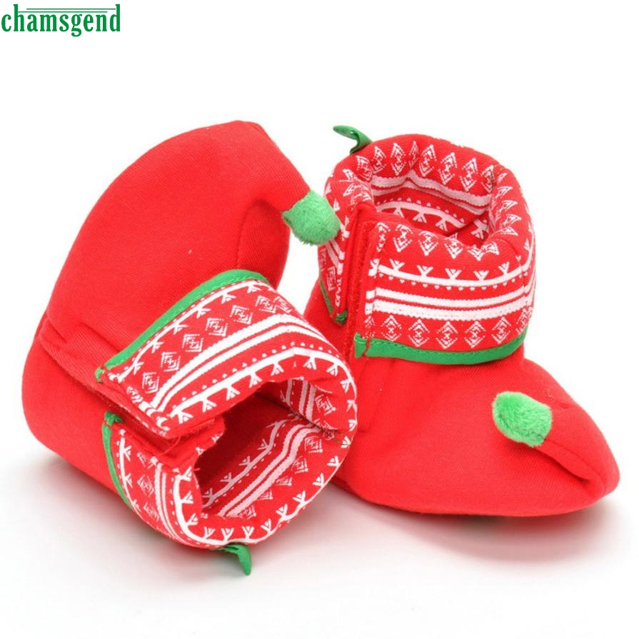 CHANSGEND Christmas Newborn Infant Baby Boy Girl Christmas Boot Shoes Soft Sole Anti-sli ...