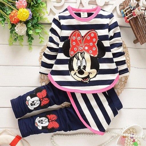2015 new baby girls Clothing Sets Fashion spring/Autumn 2pcs Suit Stripe cartoon Baby Girls cute Clothing Sets Shirt +Pants