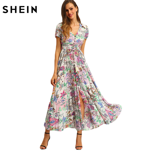 SHEIN Multicolor Floral Print Button Split Front Flare Beach Wear Boho Maxi Dress Women Short Sleeve V Neck Long Dress