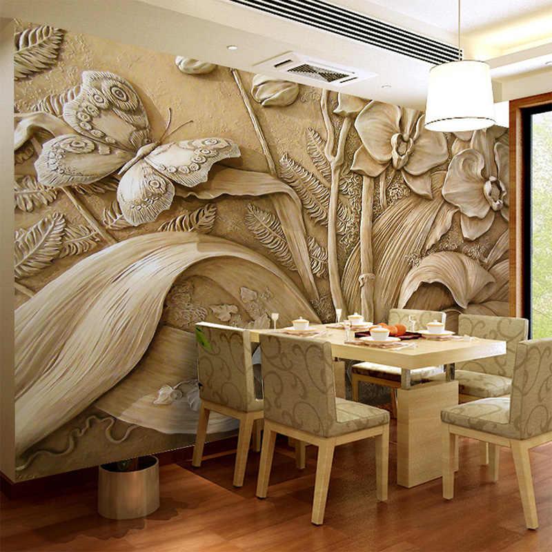 תמונה מותאמת אישית טפט פרח 3D בולט סחלב פרפר טלוויזיה רקע עיצוב הבית ציור קיר סלון ציור טפט