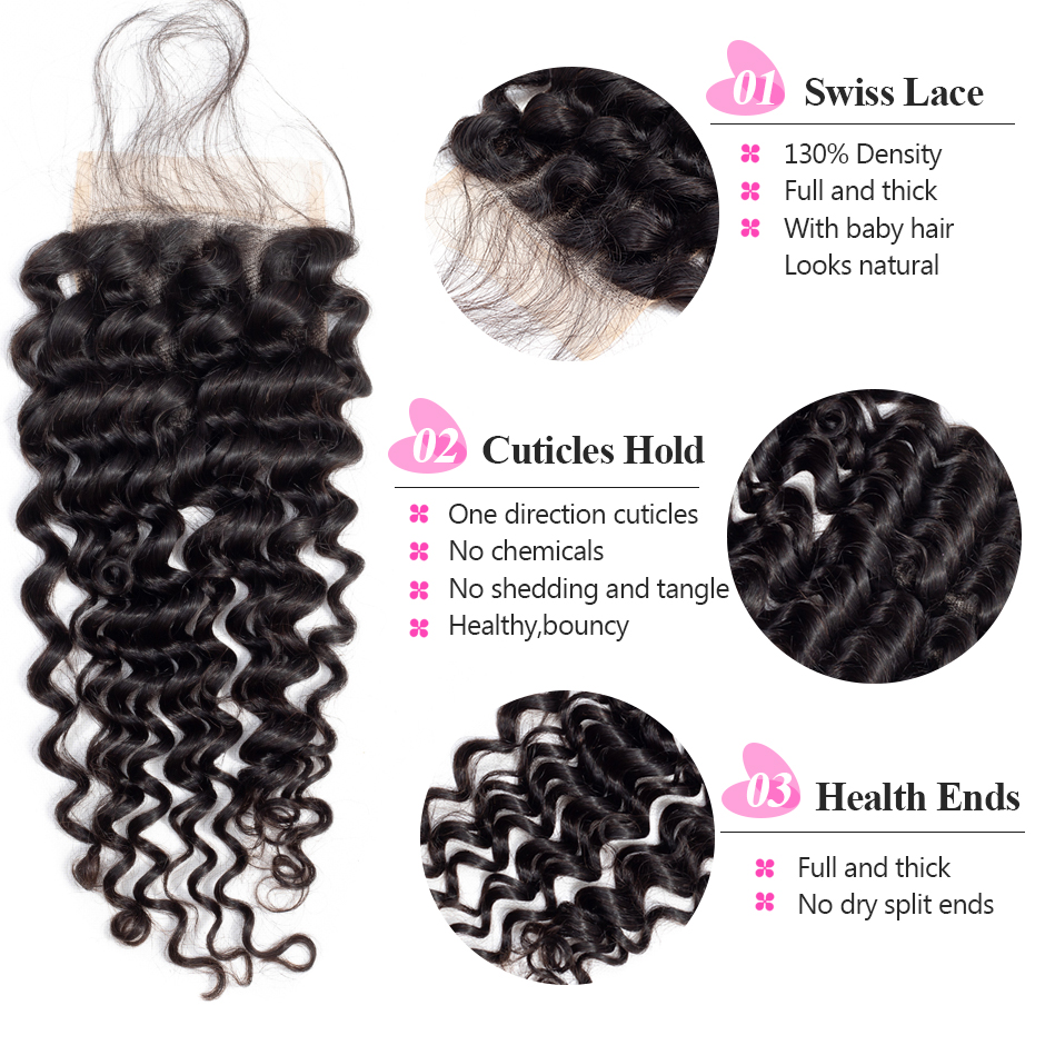 3 Bundles Deep Wave Bundles With Closure 100% Human Hair Bundles With Closure 100% Remy ISEE Peruvian Hair Bundles With Closure