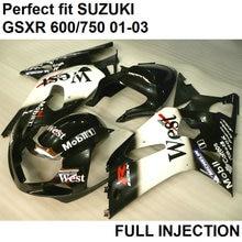 100% подходит для инъекций обтекатели для Suzuki GSXR600 2001 2002 2003 черный белый обтекателя комплект GSXR 750 01 02 03 LV10