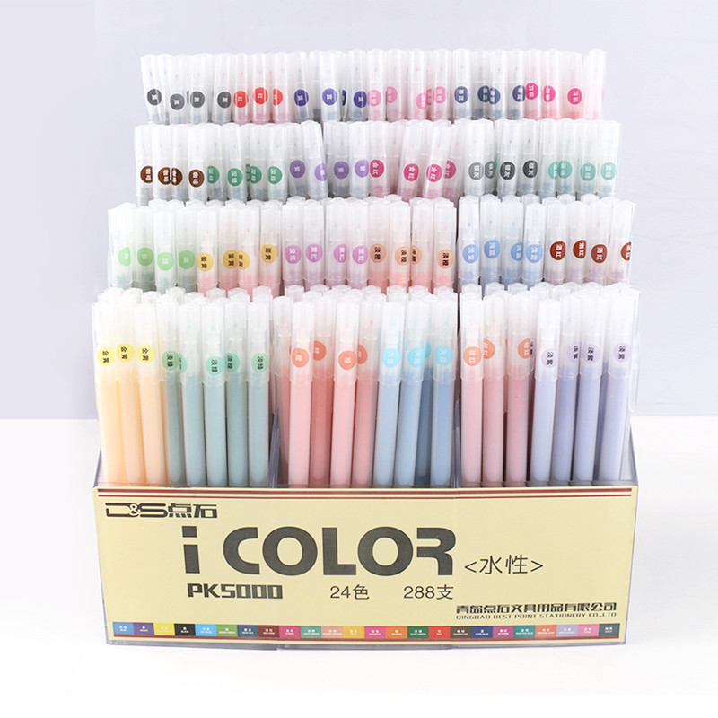 12/24/36 Colors Fiber Art Marker Pen Watercolor Water Based 0.3MM Fine Pen Painting Brush Drawing School Supplies