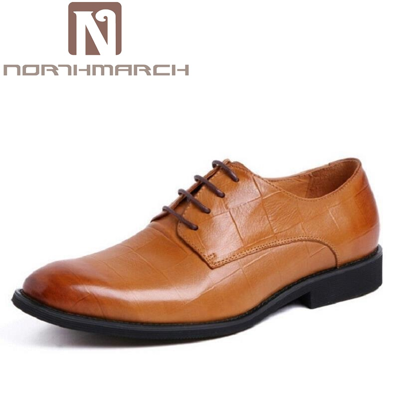 NORTHMARCH New Brand Leather Formal Shoes Men Flats Red/Brown/Black Man Dress Shoes Round Toe Vintage Italian Mens Oxfords 2017 new fashion men formal leather dress shoes quality brand mens dress oxfords flats plus size 38 46