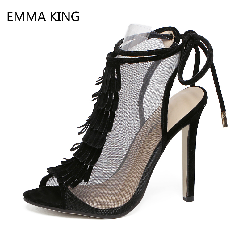 Black Women Sandals Sexy Mesh Hollow Heels Fringe Lace-up Ladies Shoes High Heels Shallow Suede Ankle Straps Sandals Female 2019Black Women Sandals Sexy Mesh Hollow Heels Fringe Lace-up Ladies Shoes High Heels Shallow Suede Ankle Straps Sandals Female 2019