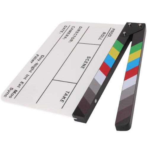 Brand New Colorful Clapperboard Clapper Board Acrylic Dry Erase Director TV Movie Film Action Slate Clap