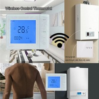 Thermostat A Gas Boiler Thermostat 5A RF Control Wall Hung Boiler Heating Thermostat LCD Temperature Controller White /Black