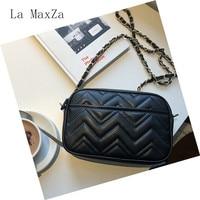 Plain Color Zipper Women Messenger Bags Pu Women Crossbody Bags Black Leather Shoulder Bags Chain Purse Cell Phone Pocket
