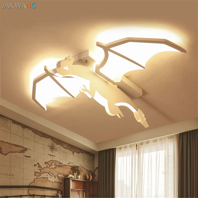 Children Room Ceiling Lamps Wing Dragon Decorative Lights Cartoon LED  Lighting Eye Protection Boy Bedroom Toy