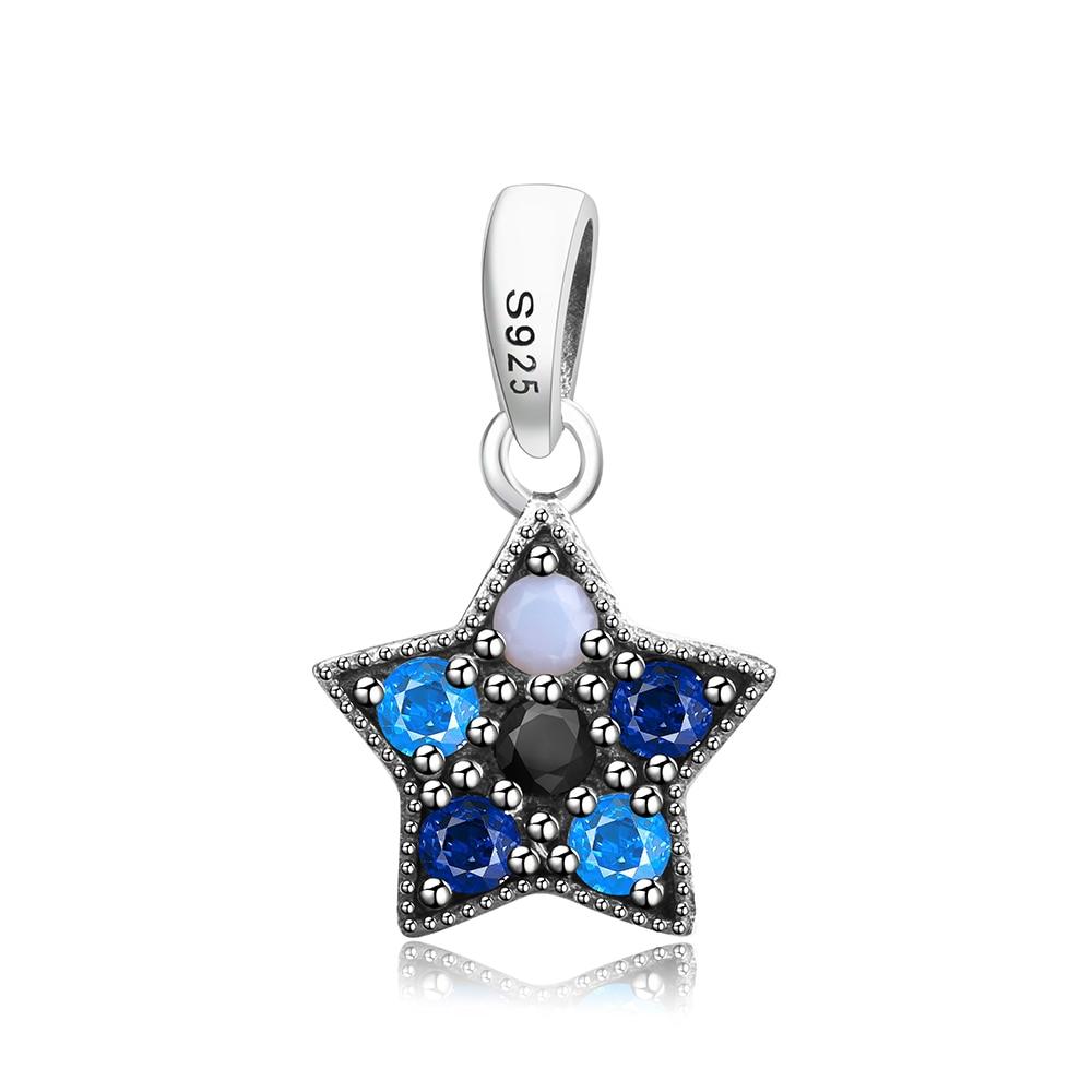925 Sterling Silver Beads Blue Zircon Charm Dangles Bead Fit Original Pandora Charm Bracelet Authentic Jewelry Gift DIY Berloque