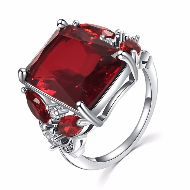 Jiayiqi Wedding Rings For Women Silver Color Ring With Large Red Crystal Stone C