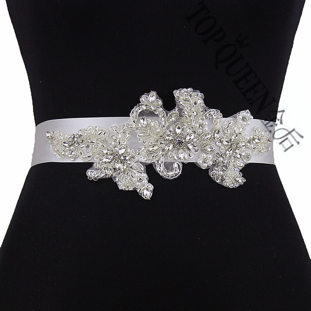 TOPQUEEN women's S139 Rhinestones Pearls Wedding evening dress sash Belts Bridal bride Belt Sashes for the party