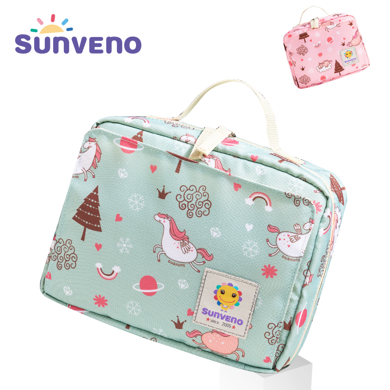 Sunveno Baby Diaper Bags Maternity Bag for Disposable Reusable Fashion Prints Wet Dry Diaper Bag Double Handle Wetbags 21*17*7CM 4