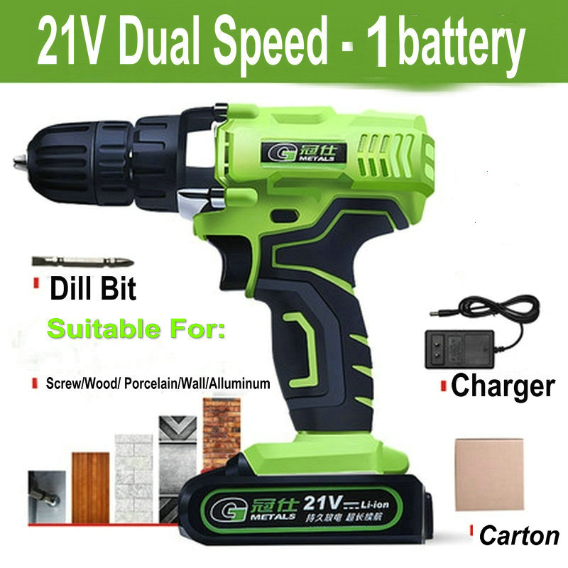 21V Dual Speed Mini Cordless Electric Screwdriver Rechargeable Lithium-ion Battery Electric Drill Power Tools With Gift