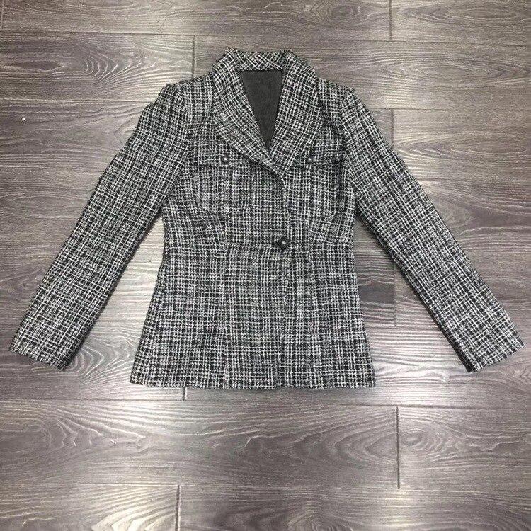 Brand New 2019 Autumn Plaid Blazers Coat Chic Women's Elegant Tweed Jackets Coat A364