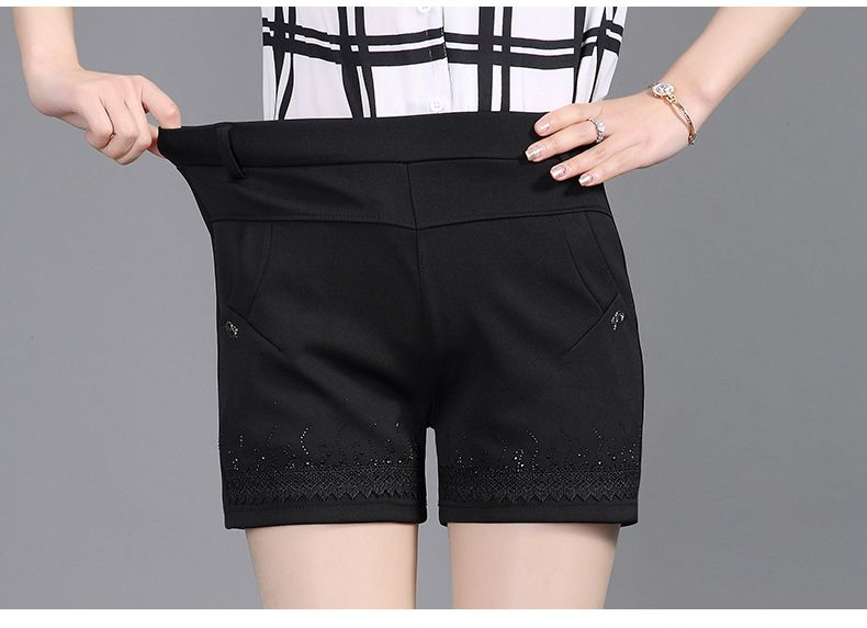Women Summer Shorts Black Elastic Band Waist Short Pants Woman Casual Pantalones Cortos Mujer Slim Fit Shorts 4XL 3XL 2XL (13)