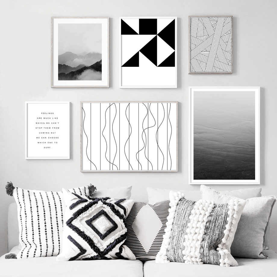Mountain Geometric abstract Line Quotes Wall Art Canvas Painting Nordic Posters And Prints Wall Pictures For Living Room Decor