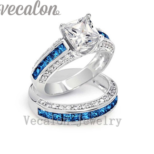 Vecalon Brand Design 5A Blue Zircon cz Wedding Band ring set for