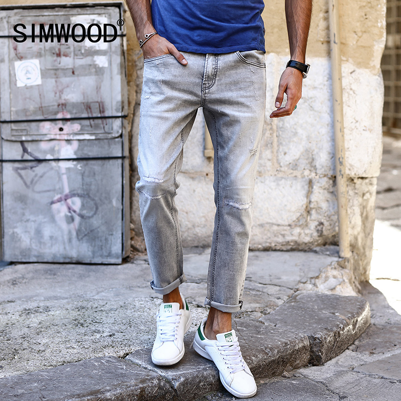 SIMWOOD 2018 spring New Jeans Men Scratched Worn FashionDenim Ankle Length Pants Slim Fit Plus ...