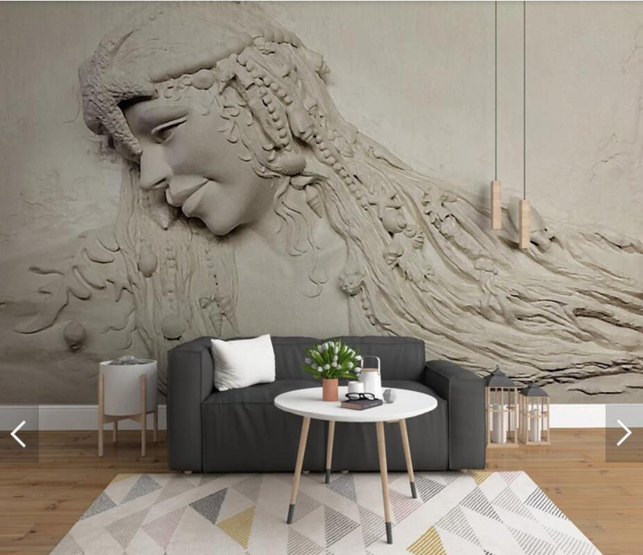 Nordic Embossed Sculpture Beautiful <font><b>Sex</b></font> Girl Photo <font><b>Wallpaper</b></font> Wall Mural for Living Room Contact Paper Wall Papers Roll Murals image