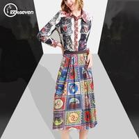 2017 Summer European Slim Leopard Print Turn Down Collar Shirts Fashion Skirts 2pcs Women Sets High