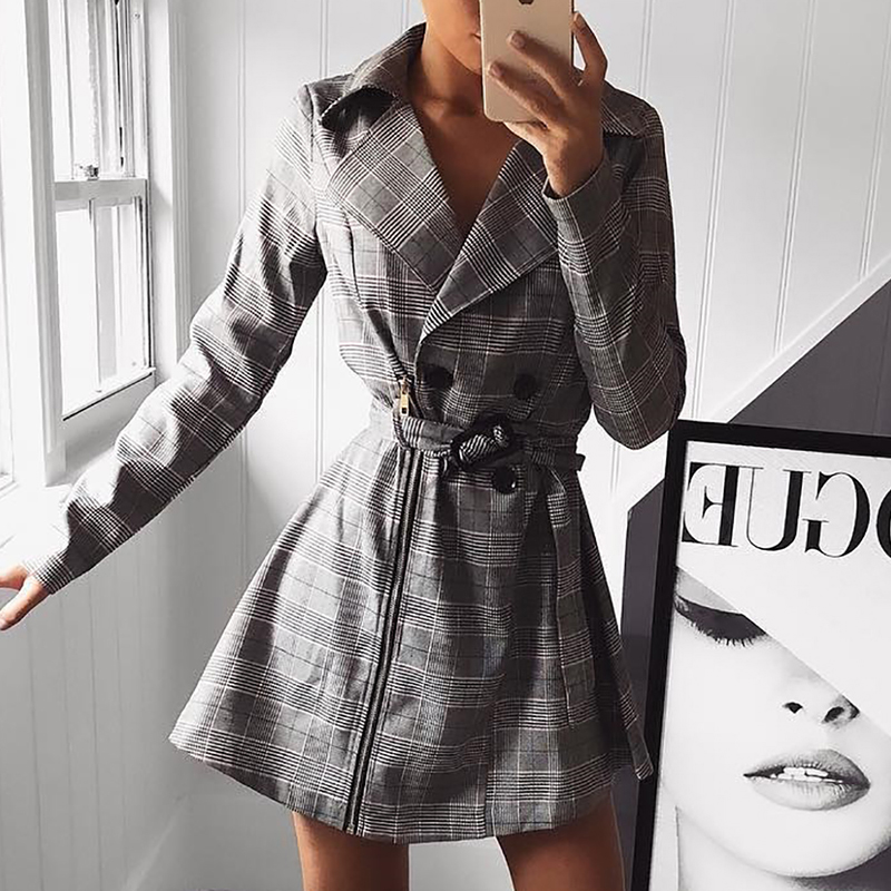 2019 Autumn Women Fashion Elegant Casual Blazer Female Plaid Print Zipper Design Double Breasted Belted Trench Coat