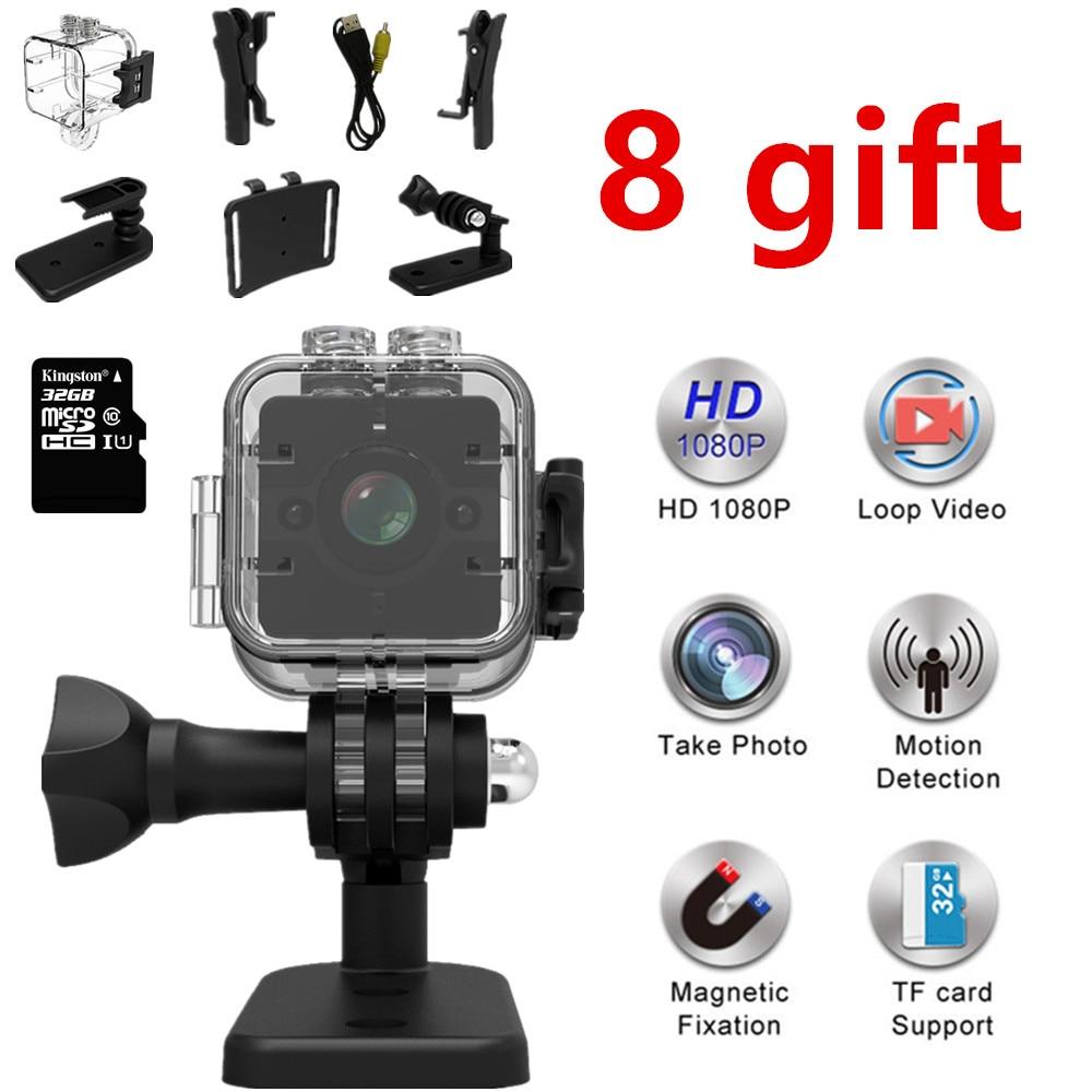 SQ12 camer dell'automobile HD 1080 P Mini macchina fotografica Grandangolare MINI Impermeabile videocamera DVR Mini videocamera macchina fotografica di Sport PK SQ11 mikro kamera
