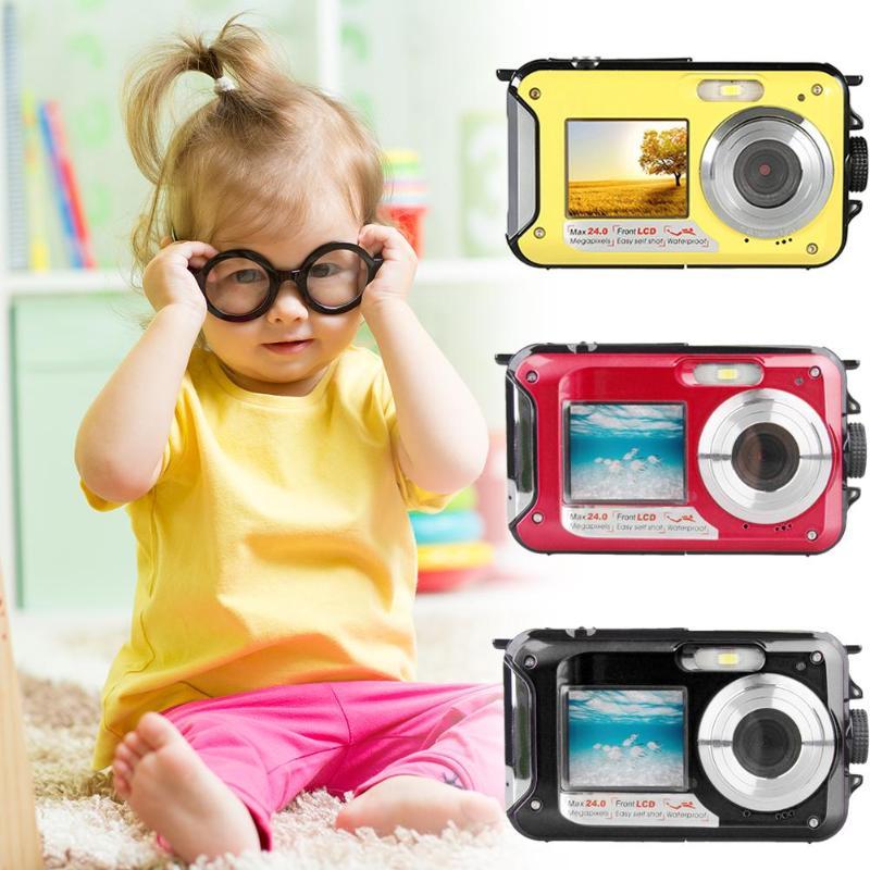 Pro jeu étanche 24MP Double écran sous-marin enfants caméra Mini caméra numérique affichage LCD caméra sous-marine étanche à la poussière - 2