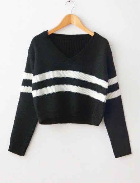 abb128e6cdea78 ... Crop Tops Autumn Women Sweater Striped Knitted Thin Pullover V-neck  Loose Jumper Casual Short ...