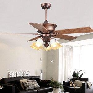 Living room ceiling fan light restaurant atmosphere upscale creative retro golden Fan lights