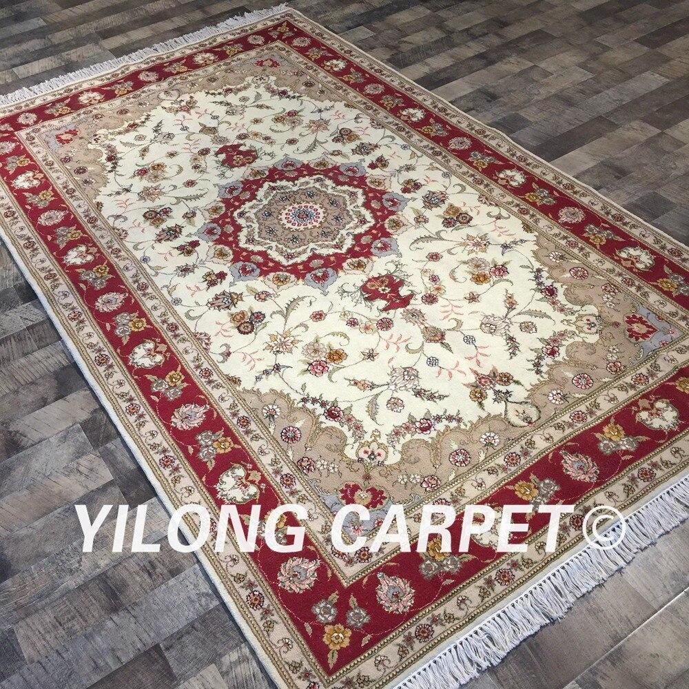 Yilong 5'x8' tapis rouge Oriental noué à la main tapis en laine de soie persane ivoire (WY2023S5x8) - 3