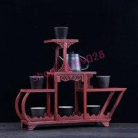Blood sandalwood, sailboat style, solid wood curio shelves, ornaments pendulum frame.