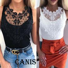 Fashion Women Summer Vest Top Sleeveless Lace Chiffon Blouse Tank Tops T-Shirt