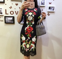 New 2016 Spring Summer Brand Runway Black Lace Dress Front Back Both Embroidery Floral Casual Dresses