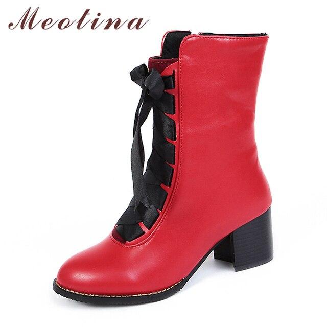 Meotina 女性ブーツ冬 2018 ブロックヒールの女性のオートバイのブーツレースアップミッドカーフブーツ赤女性の靴ビッグサイズ 45 46 黄色