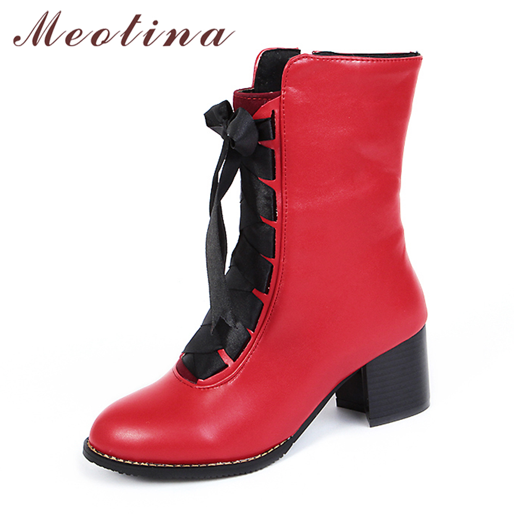 Meotina Women Boots Winter 2018 Blok Heel Ladies Motorcycle Boots Lace up Mid Calf Boots Red Ladies Shoes Saiz Besar 45 46 Kuning