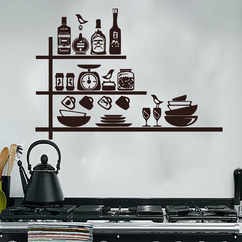 Dctop Creative Crockery Spices Shelves Wall Sticker Kitchen Wall Decor Waterproof Vinyl Removable Wall Decal