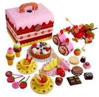 New Hot Pink Cute Wooden Simulation Cake Strawberry Chocolat Cut Game Pretend Play Kitchen Food Toys for Kids Children Gift Toy