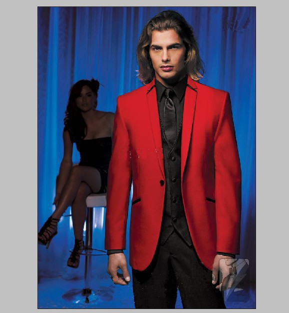custom made red jacket and black pants dress wedding the groom, holds the suit (jacket + pants + vest, tie) image