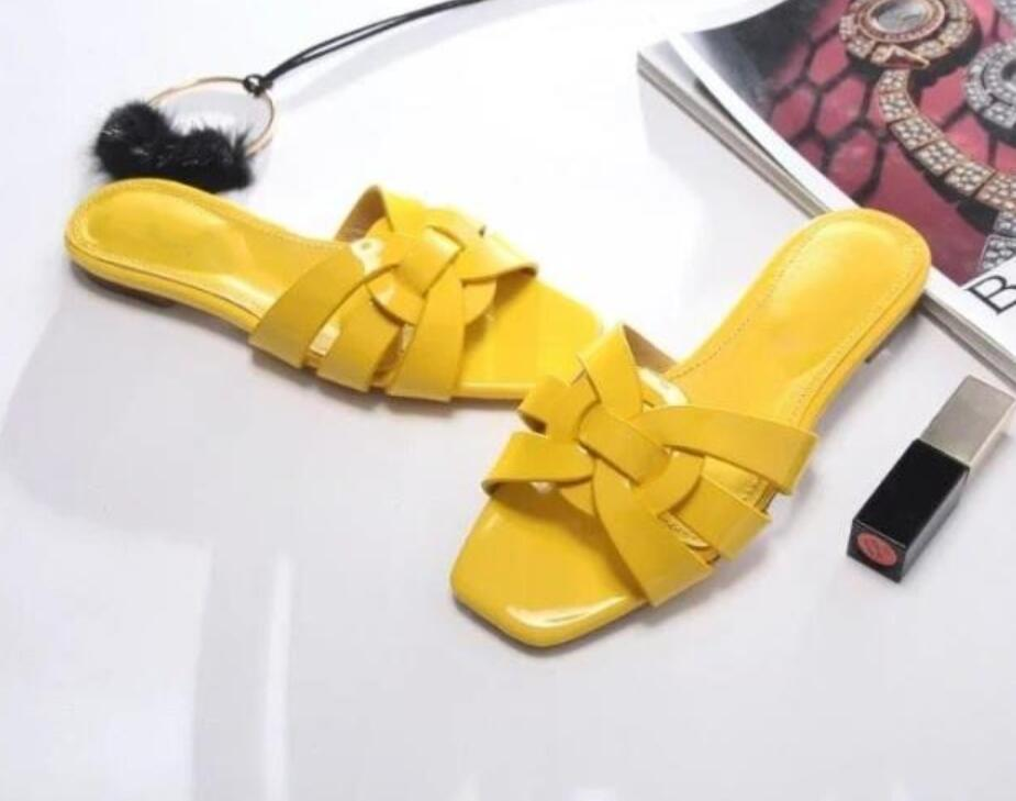 Criss Cross Strap Women Gladiator Sandals Flats Slippers Patent Leather Ladies Fashion Slippers Shoes Yellow Red Brown Shoes spaghetti strap criss cross overlay dress