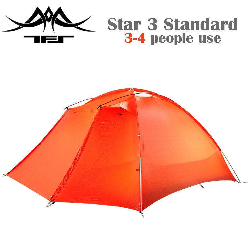 TFS (the Free Spirits)  STARS3 Standard 3-person One-sided Silicon Coating 3-Season  Ultralight Camping Tent with A Matching Mat high quality outdoor 2 person camping tent double layer aluminum rod ultralight tent with snow skirt oneroad windsnow 2 plus