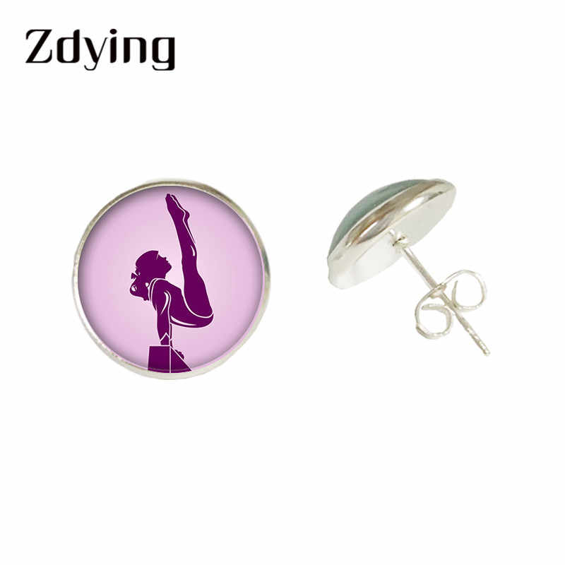 Zdying Fashion Senam Anting-Anting Pesenam Siluet Stud Anting-Anting Kaca Cabochon Kasual/Sporty Perhiasan untuk Wanita Gadis GY004