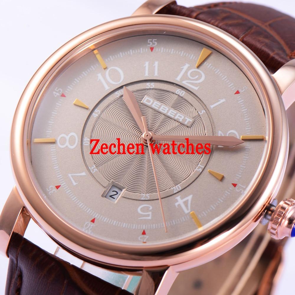 Debert 43mm Gray Dial Miyota 8215 Self-winding Movement Automatic Men Watch leather цена и фото