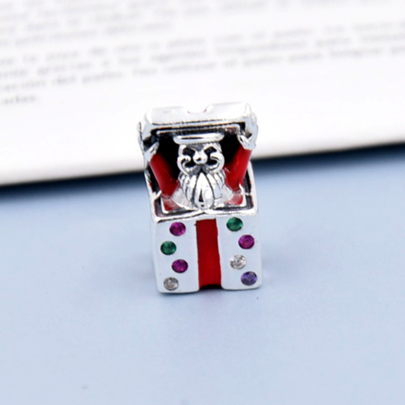 New 925 Sterling Silver Bead Charm Pave Box Red Enamel Clown With Crystal Beads Fit Women Pandora Bracelet Bangle DIY Jewelry